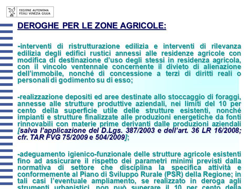 DEROGHE PER LE ZONE AGRICOLE: