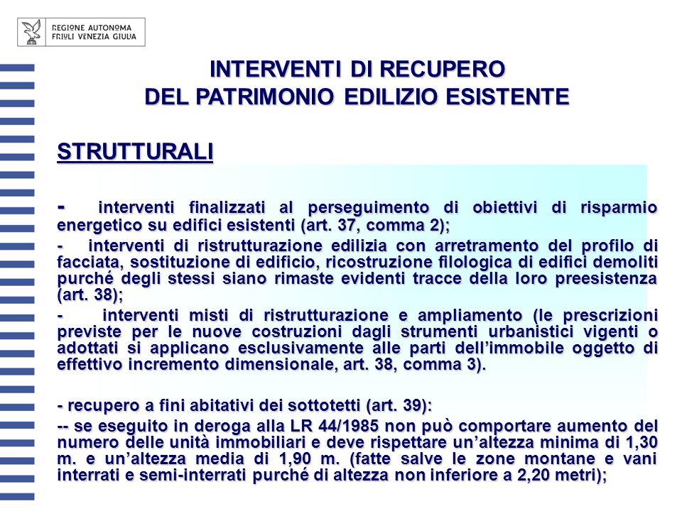 INTERVENTI DI RECUPERO DEL PATRIMONIO EDILIZIO ESISTENTE