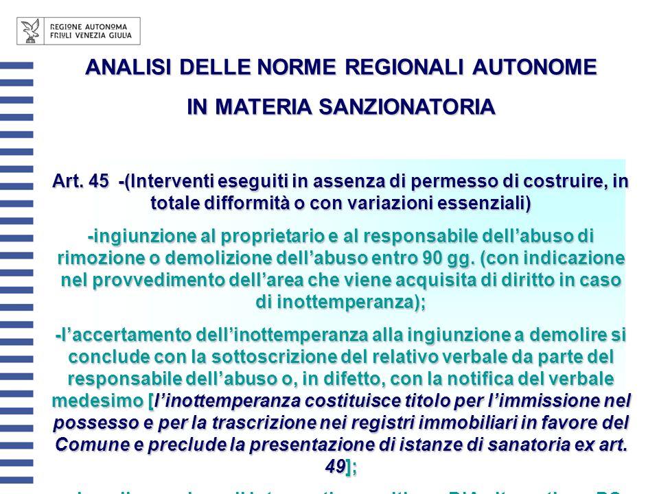 ANALISI DELLE NORME REGIONALI AUTONOME IN MATERIA SANZIONATORIA