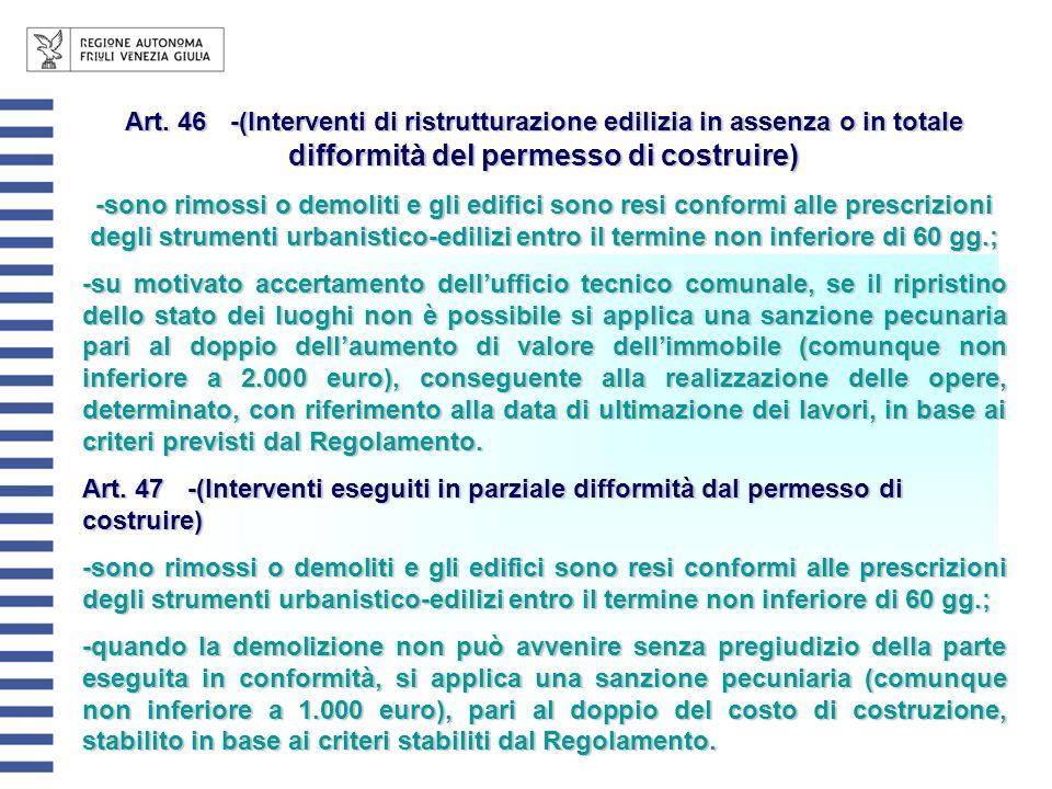 Art. 46 -(Interventi di ristrutturazione edilizia in assenza o in totale difformità del permesso di costruire)