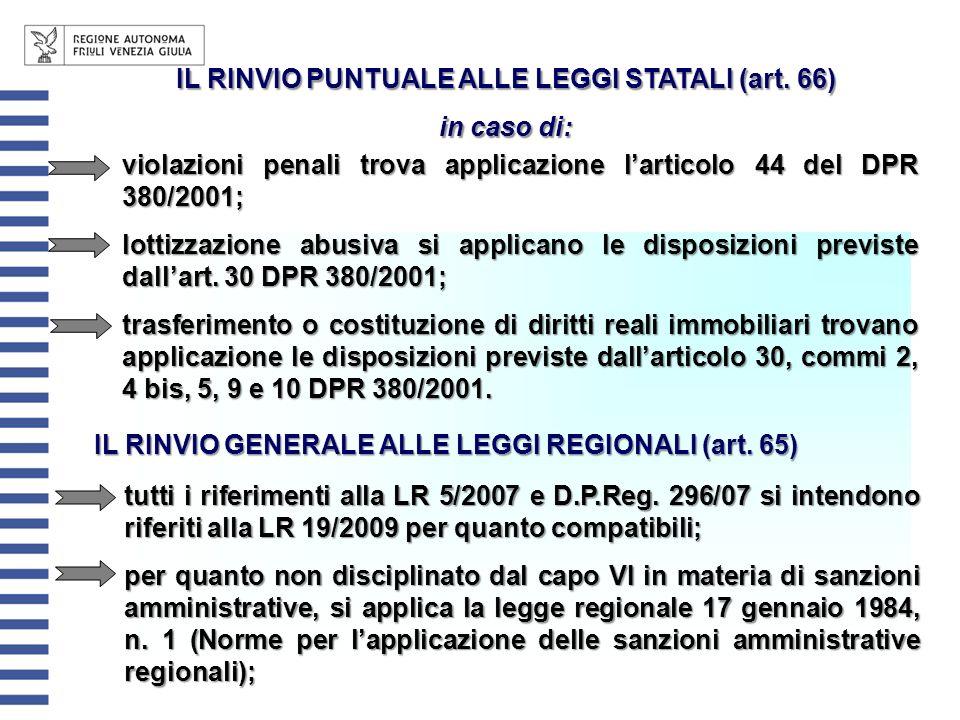 IL RINVIO PUNTUALE ALLE LEGGI STATALI (art. 66) in caso di: