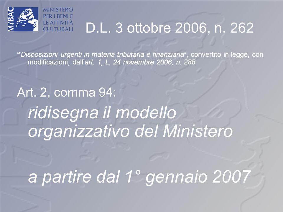 ridisegna il modello organizzativo del Ministero