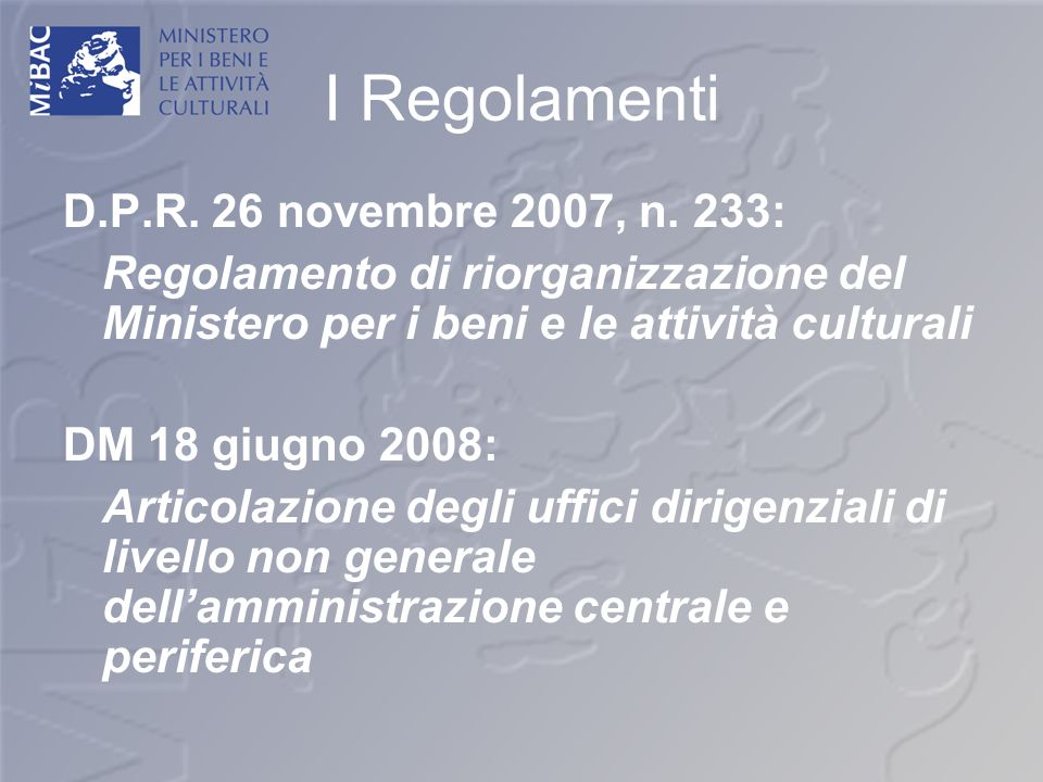 I Regolamenti D.P.R. 26 novembre 2007, n. 233: