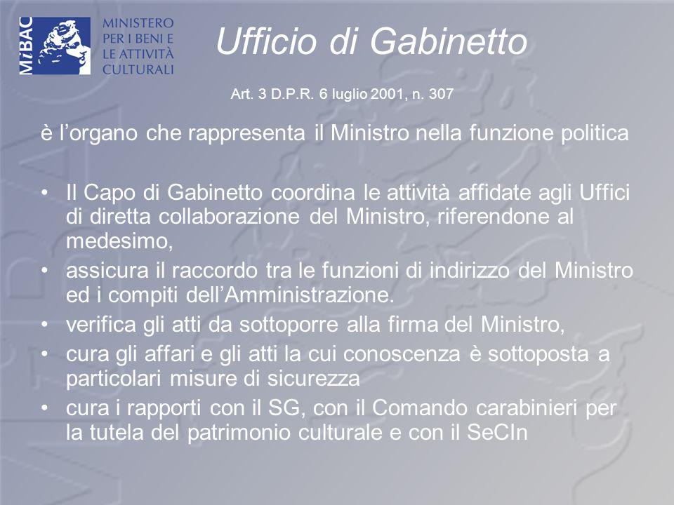 Ufficio di Gabinetto Art. 3 D.P.R. 6 luglio 2001, n. 307