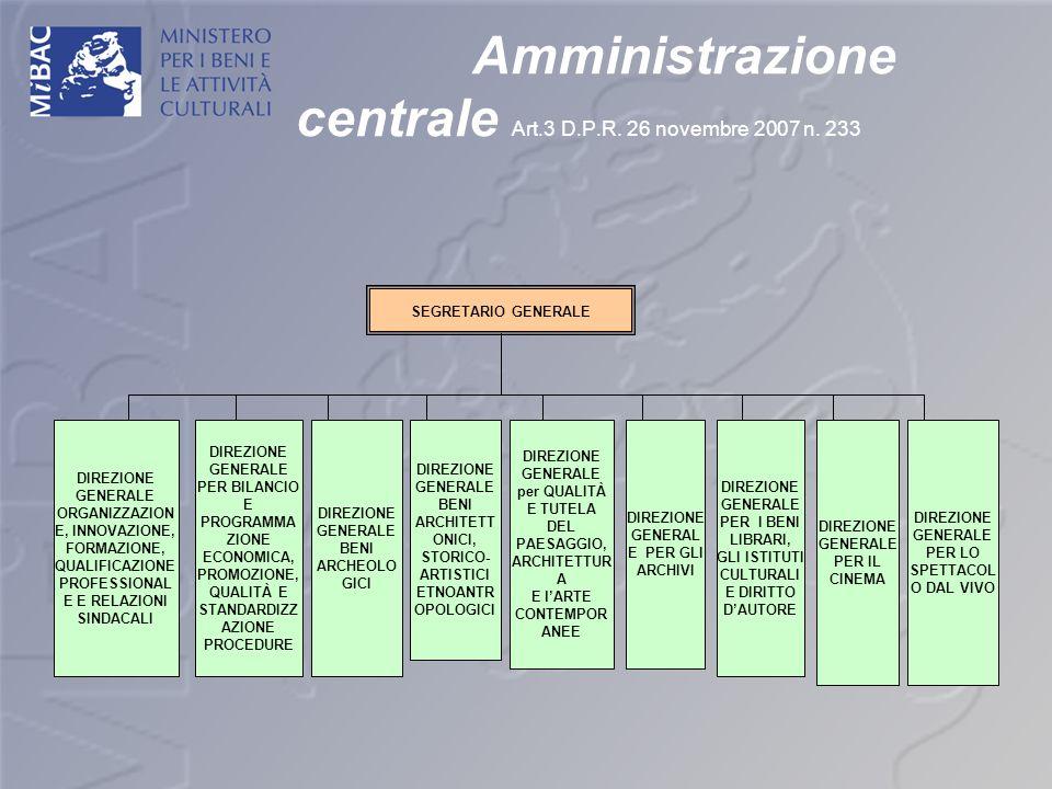 Amministrazione centrale Art.3 D.P.R. 26 novembre 2007 n. 233