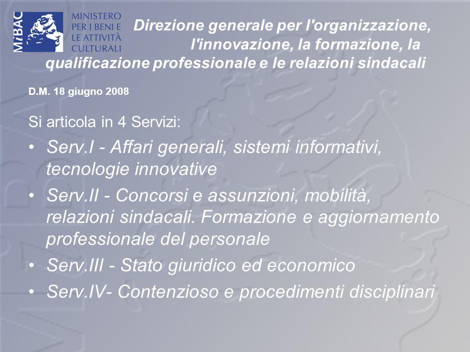 Serv.I - Affari generali, sistemi informativi, tecnologie innovative