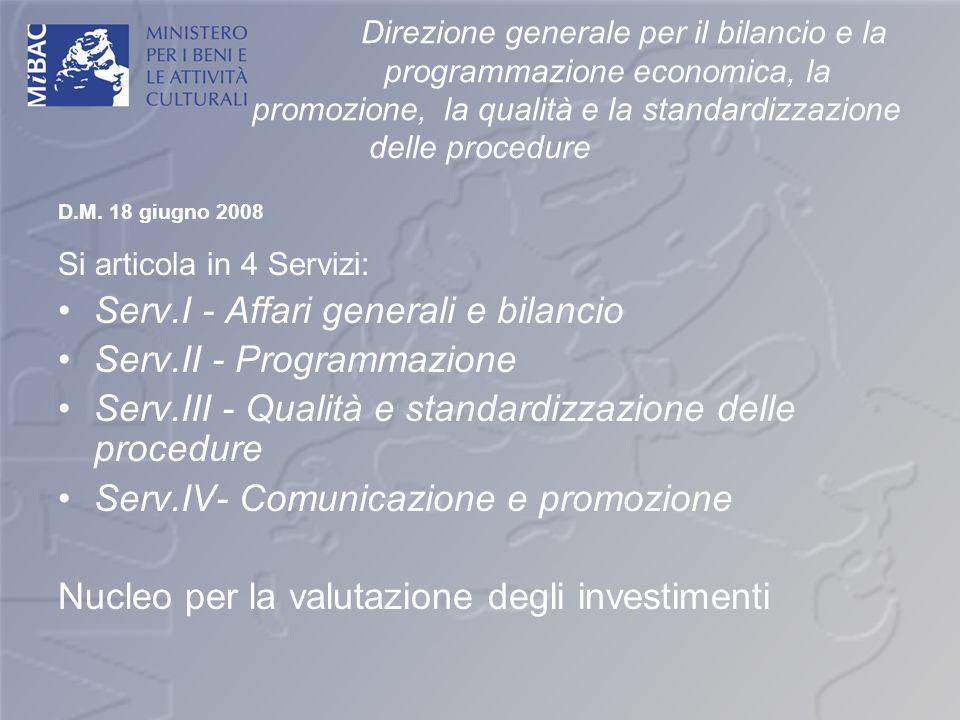 Serv.I - Affari generali e bilancio Serv.II - Programmazione
