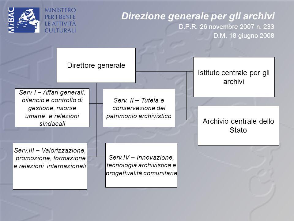 Direzione generale per gli archivi D. P. R. 26 novembre 2007 n. 233 D