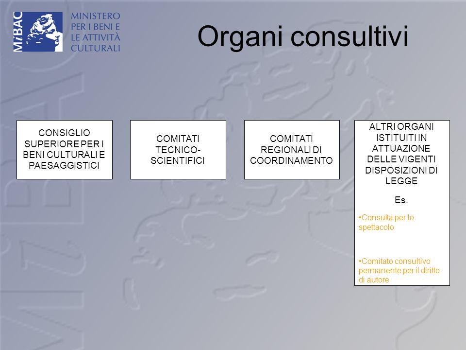 Organi consultivi CONSIGLIO SUPERIORE PER I BENI CULTURALI E PAESAGGISTICI. COMITATI TECNICO- SCIENTIFICI.
