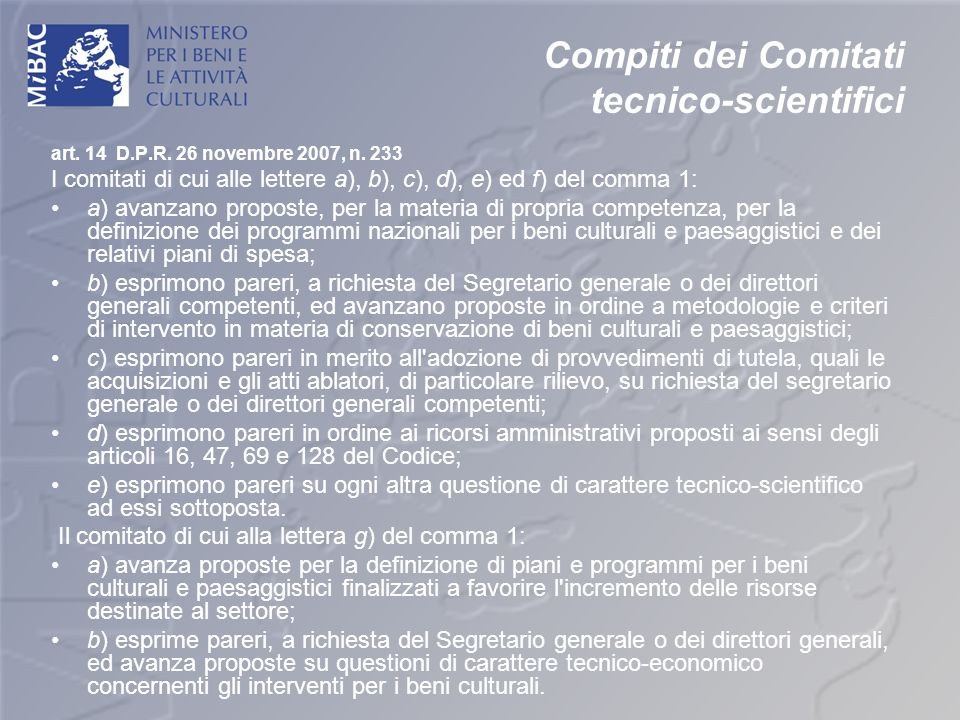 Compiti dei Comitati tecnico-scientifici