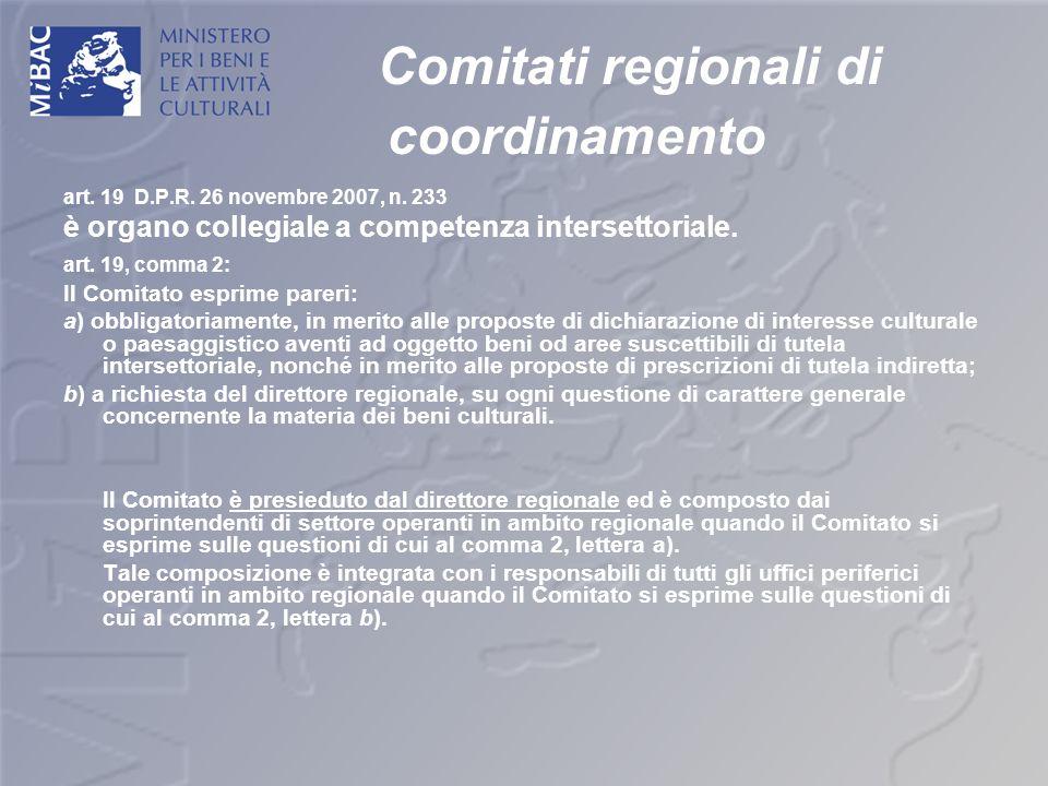 Comitati regionali di coordinamento