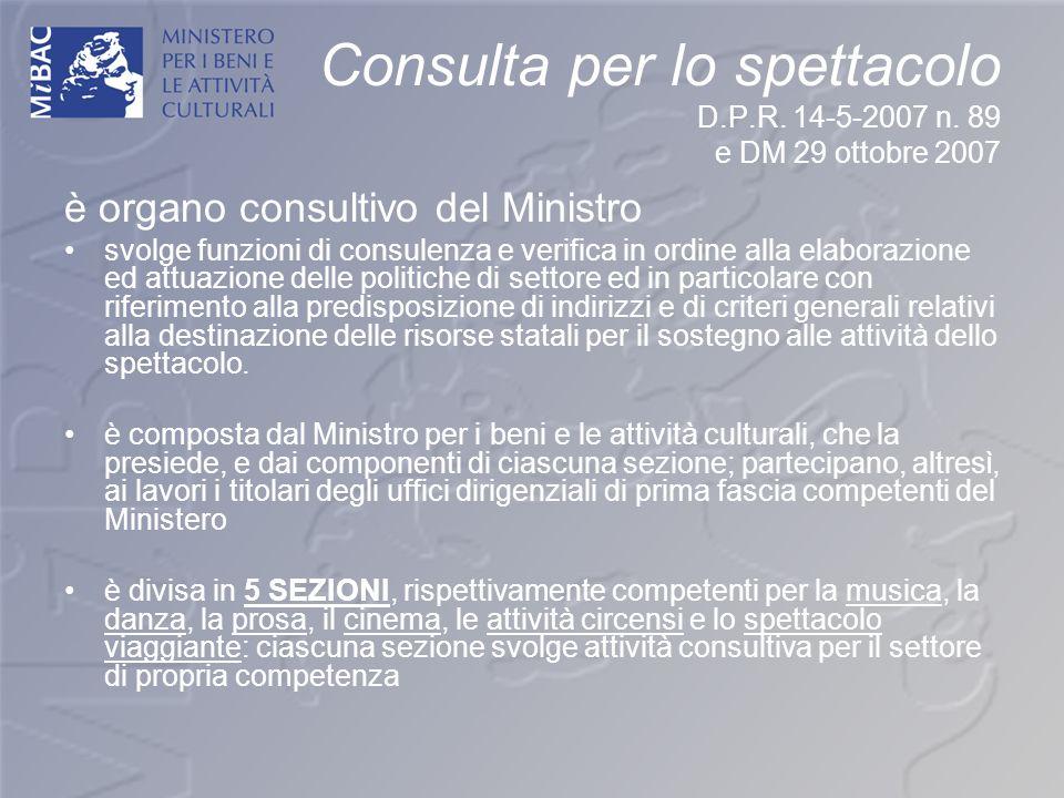 Consulta per lo spettacolo D.P.R. 14-5-2007 n. 89 e DM 29 ottobre 2007