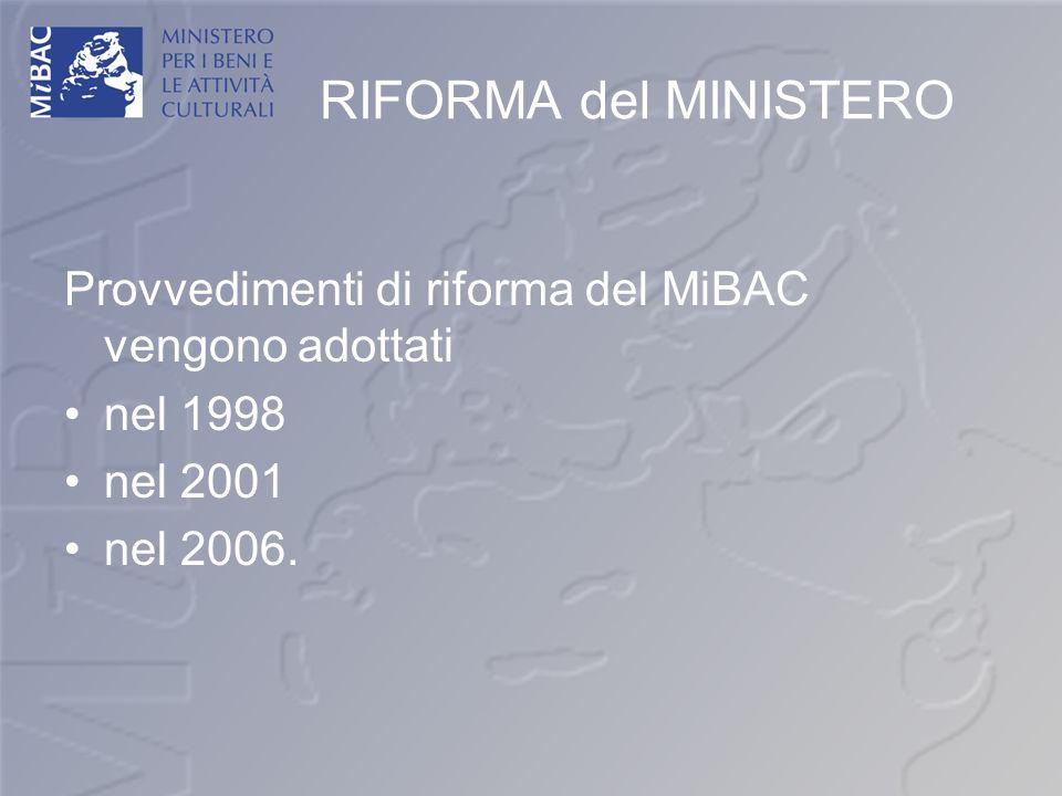 RIFORMA del MINISTERO Provvedimenti di riforma del MiBAC vengono adottati.