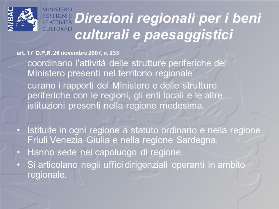 Direzioni regionali per i beni culturali e paesaggistici