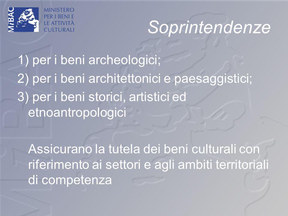 Soprintendenze 1) per i beni archeologici;