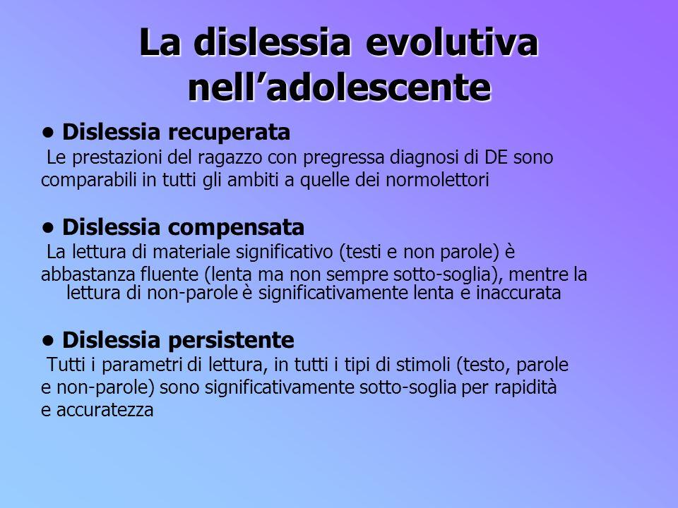 La dislessia evolutiva nell'adolescente