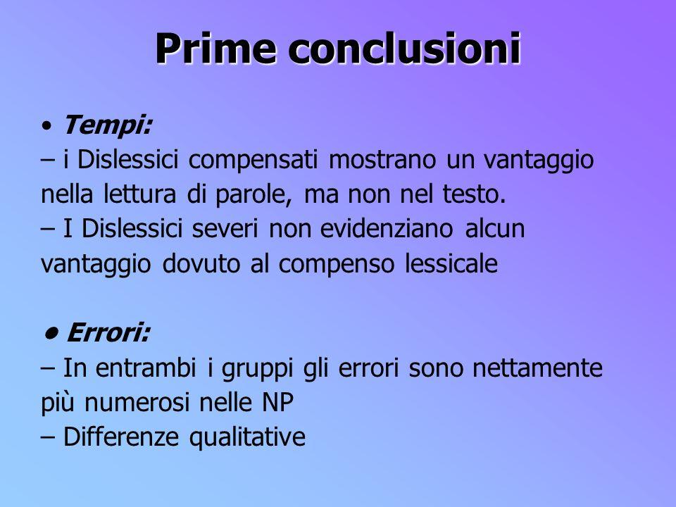 Prime conclusioni • Tempi: