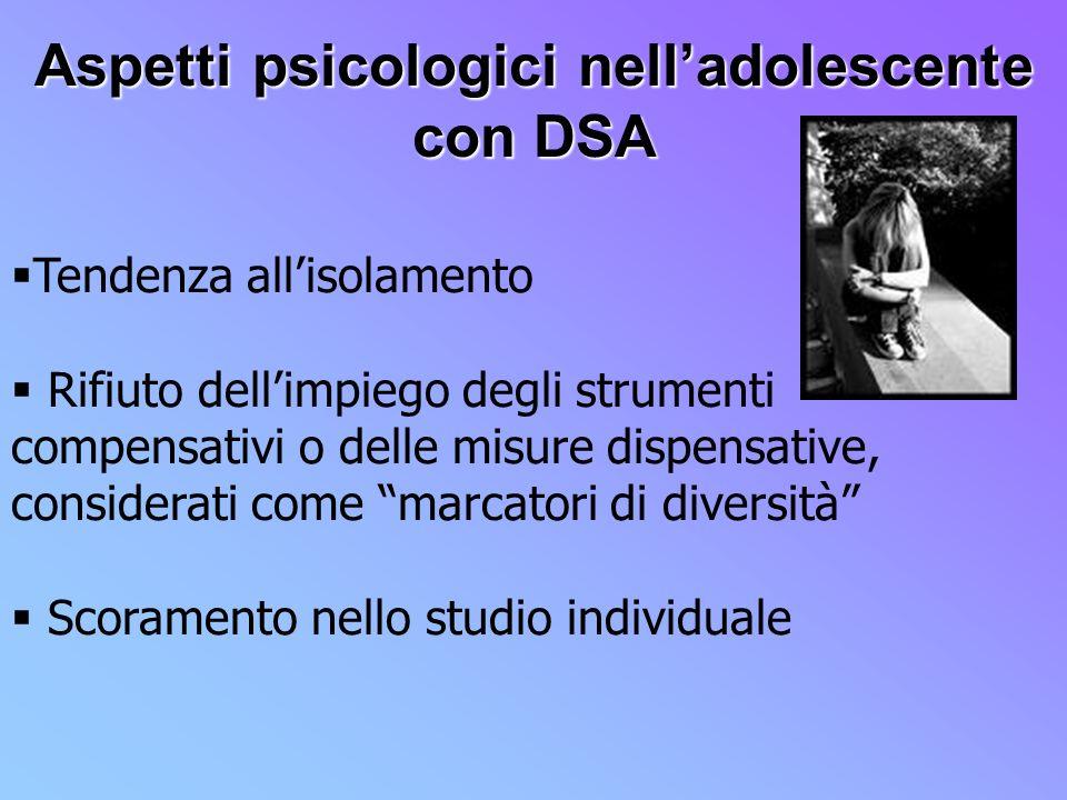 Aspetti psicologici nell'adolescente con DSA