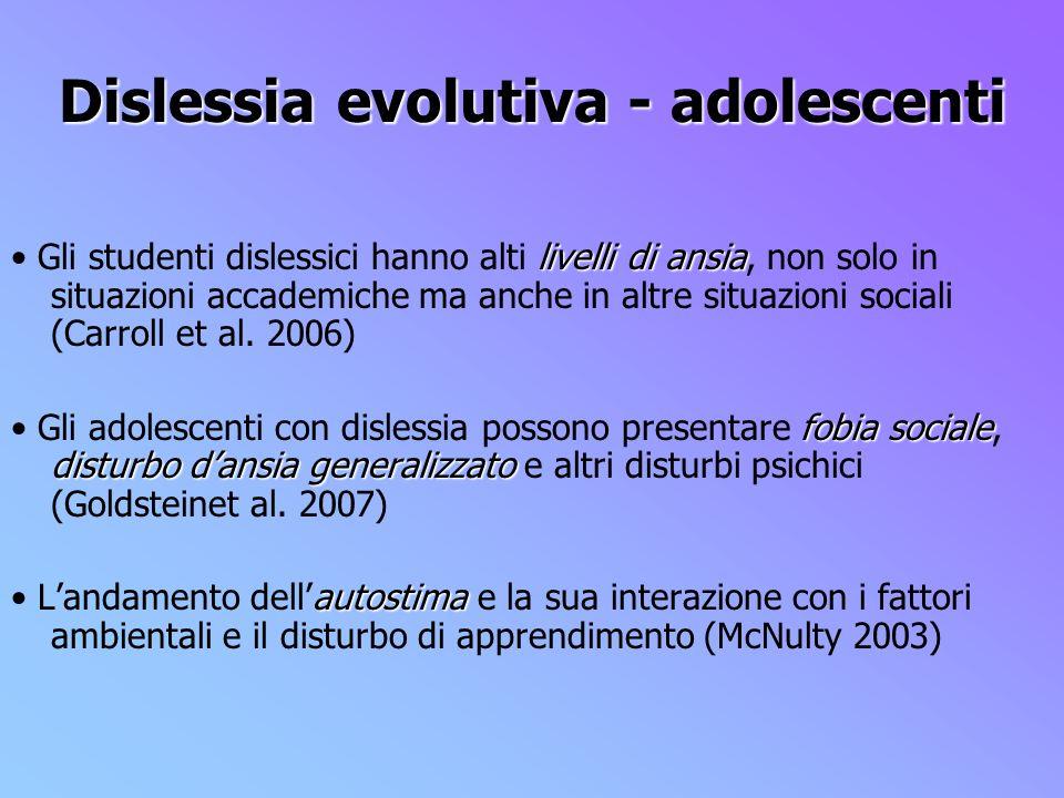 Dislessia evolutiva - adolescenti