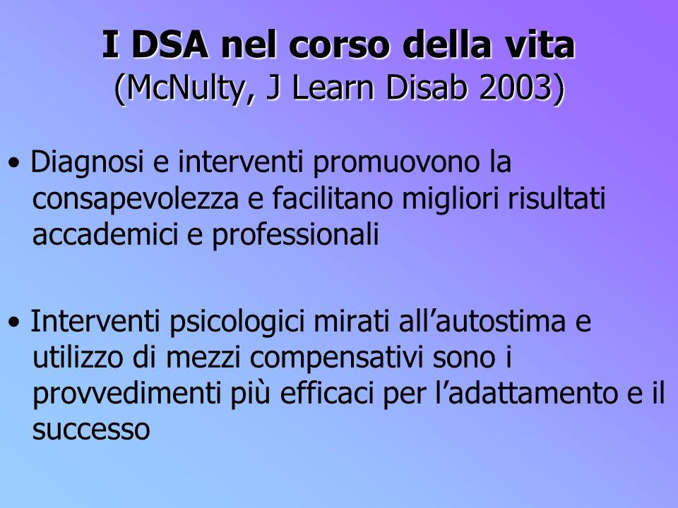 I DSA nel corso della vita (McNulty, J Learn Disab 2003)
