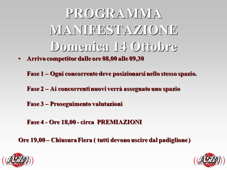 PROGRAMMA MANIFESTAZIONE Domenica 14 Ottobre