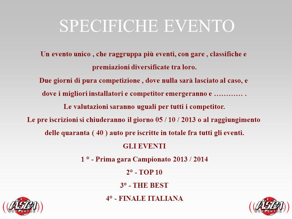 SPECIFICHE EVENTO Un evento unico , che raggruppa più eventi, con gare , classifiche e. premiazioni diversificate tra loro.