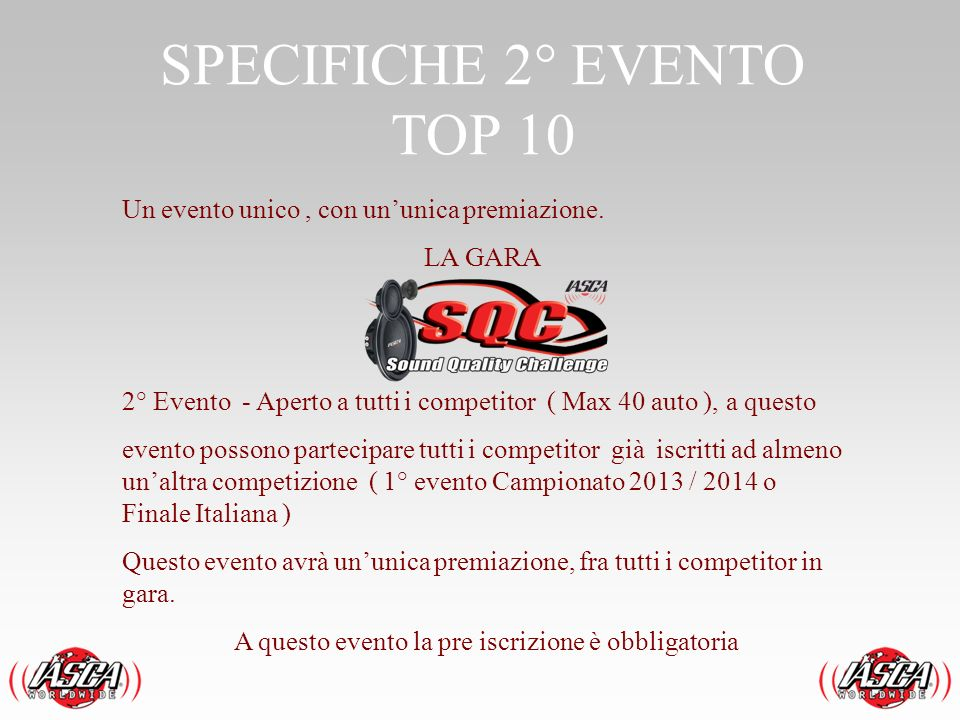SPECIFICHE 2° EVENTO TOP 10