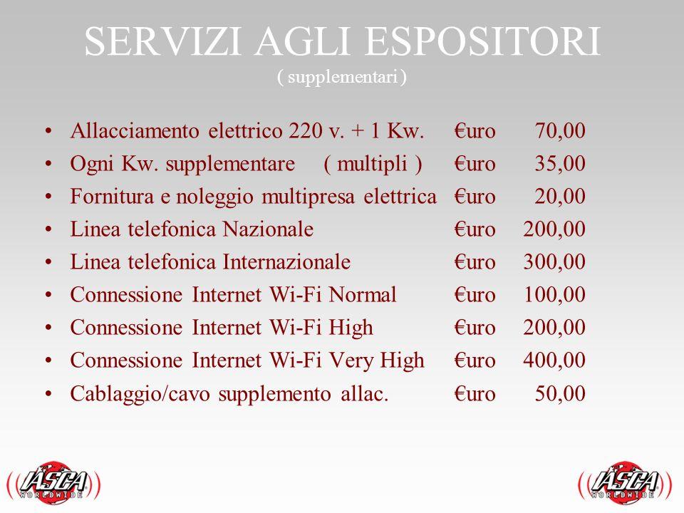 SERVIZI AGLI ESPOSITORI ( supplementari )