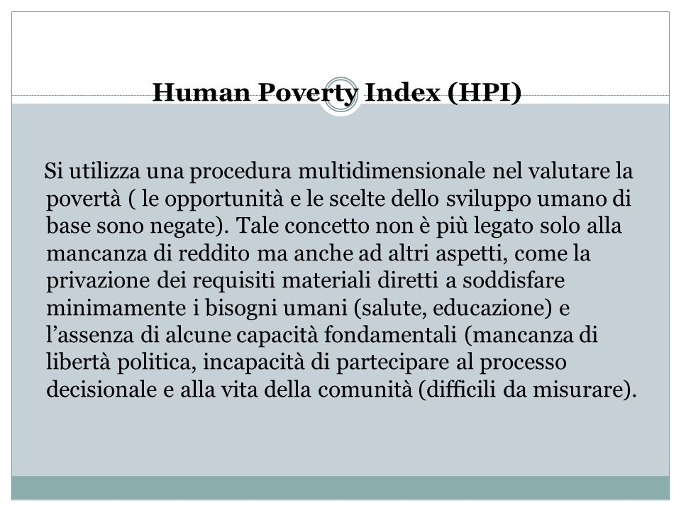 Human Poverty Index (HPI)