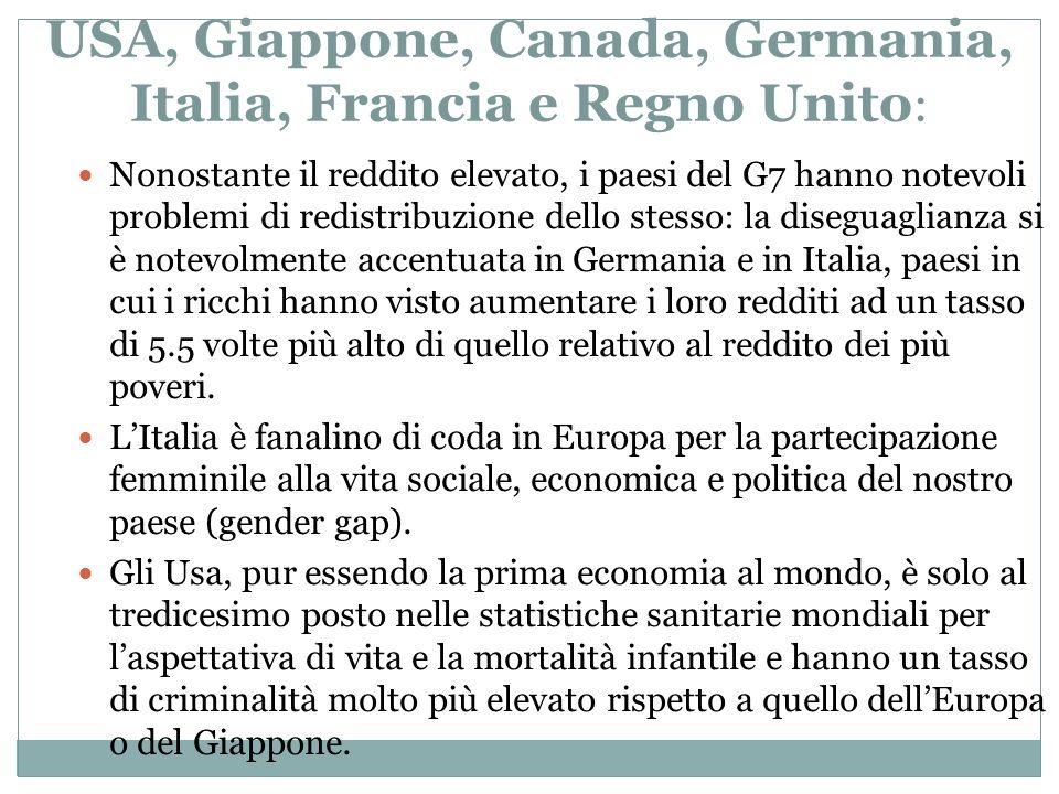 USA, Giappone, Canada, Germania, Italia, Francia e Regno Unito: