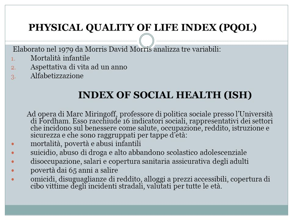 PHYSICAL QUALITY OF LIFE INDEX (PQOL)