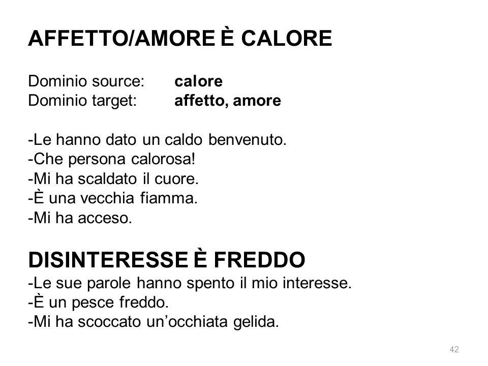AFFETTO/AMORE È CALORE