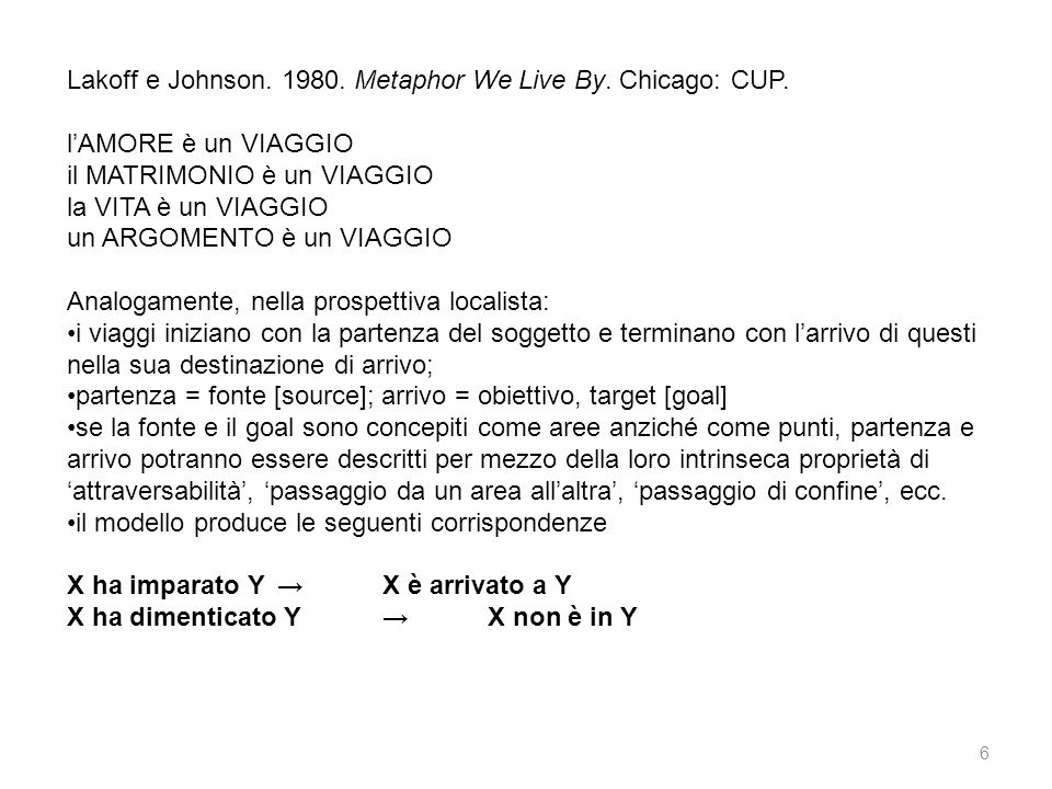 Lakoff e Johnson. 1980. Metaphor We Live By. Chicago: CUP.