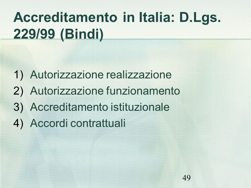 Accreditamento in Italia: D.Lgs. 229/99 (Bindi)