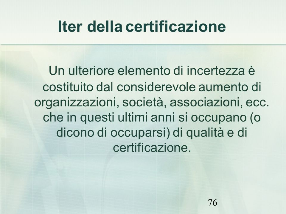Iter della certificazione