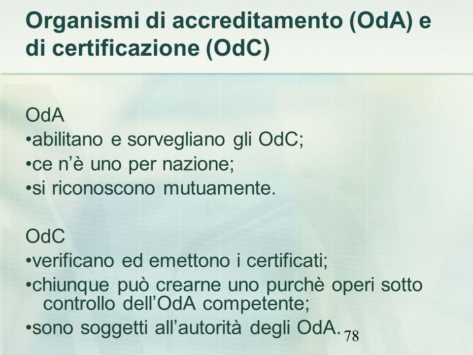 Organismi di accreditamento (OdA) e di certificazione (OdC)