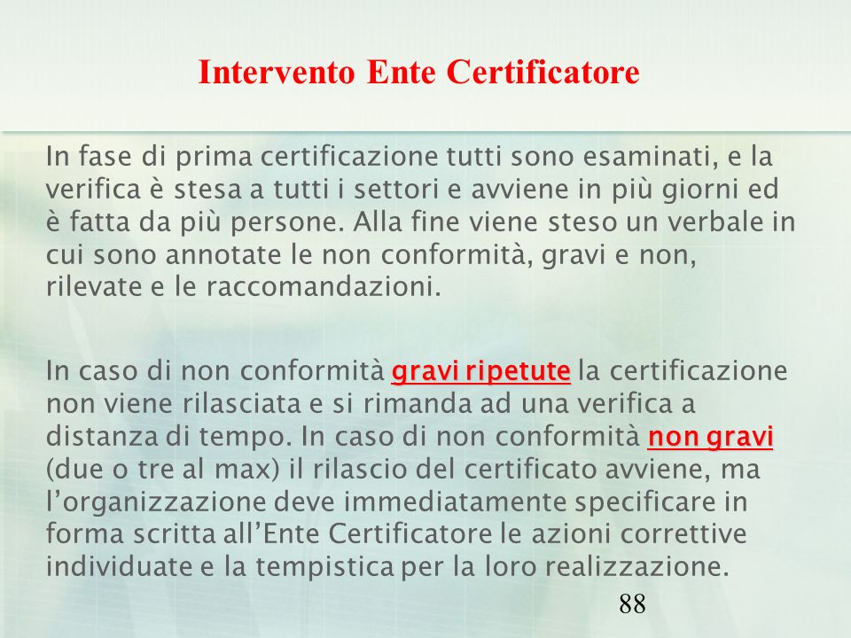 Intervento Ente Certificatore