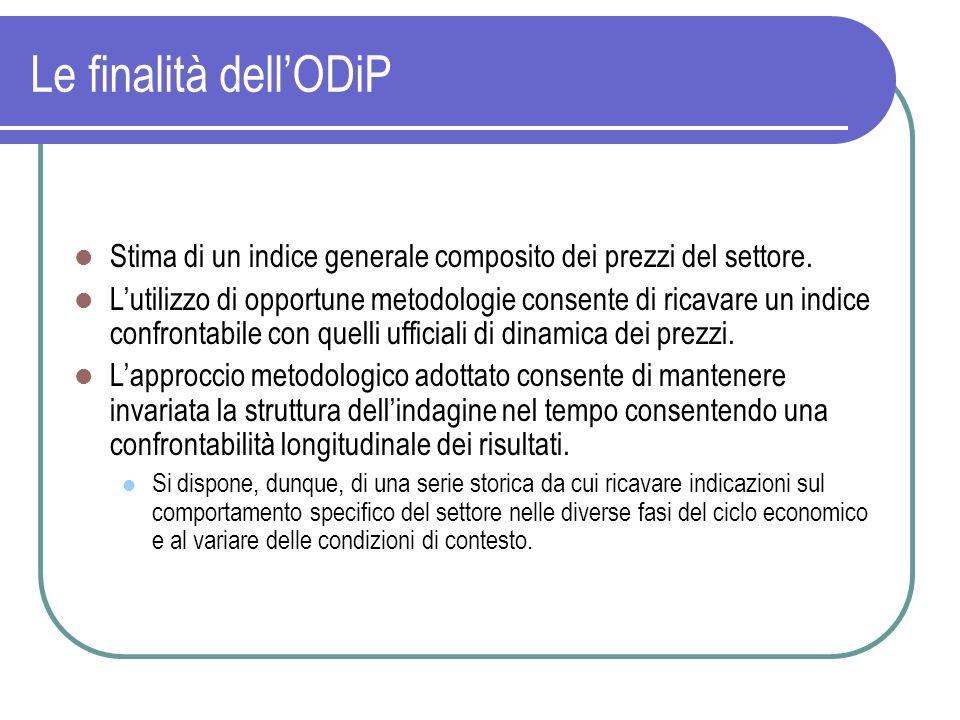 Le finalità dell'ODiP Stima di un indice generale composito dei prezzi del settore.