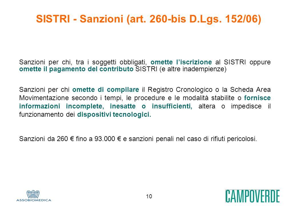 SISTRI - Sanzioni (art. 260-bis D.Lgs. 152/06)