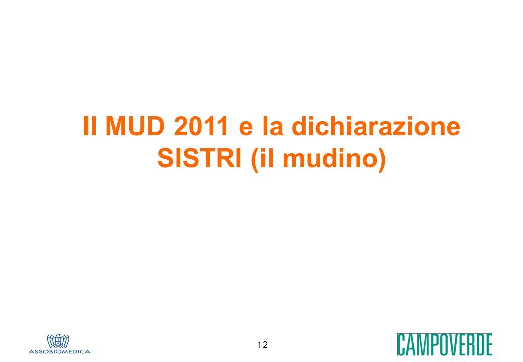 Il MUD 2011 e la dichiarazione SISTRI (il mudino)