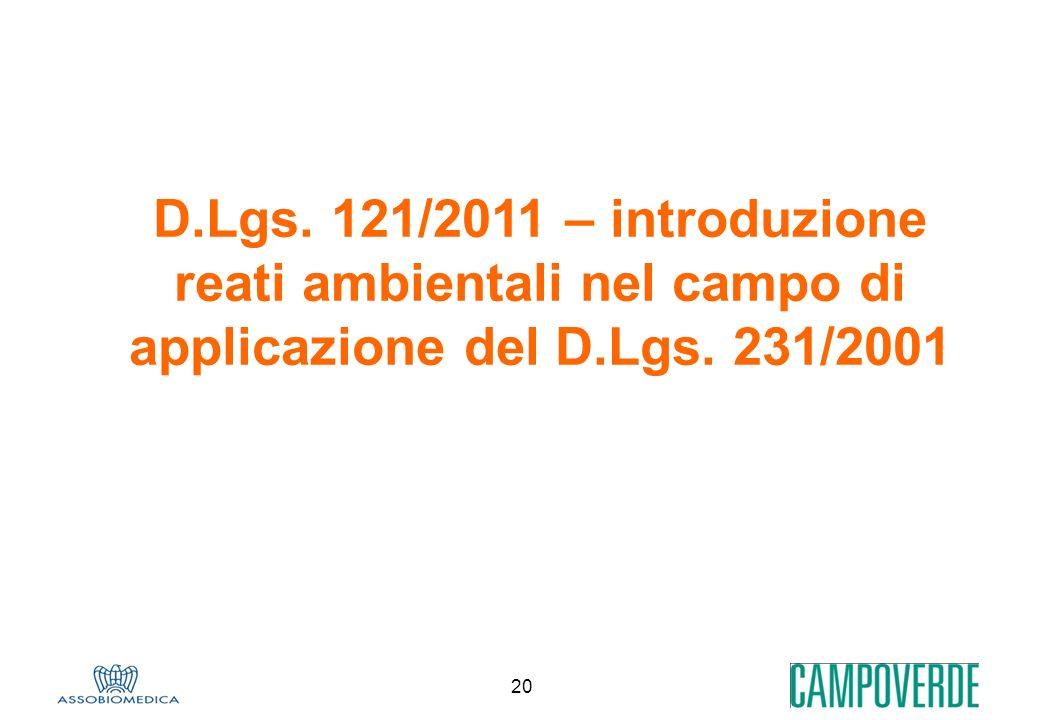 D.Lgs. 121/2011 – introduzione reati ambientali nel campo di applicazione del D.Lgs. 231/2001