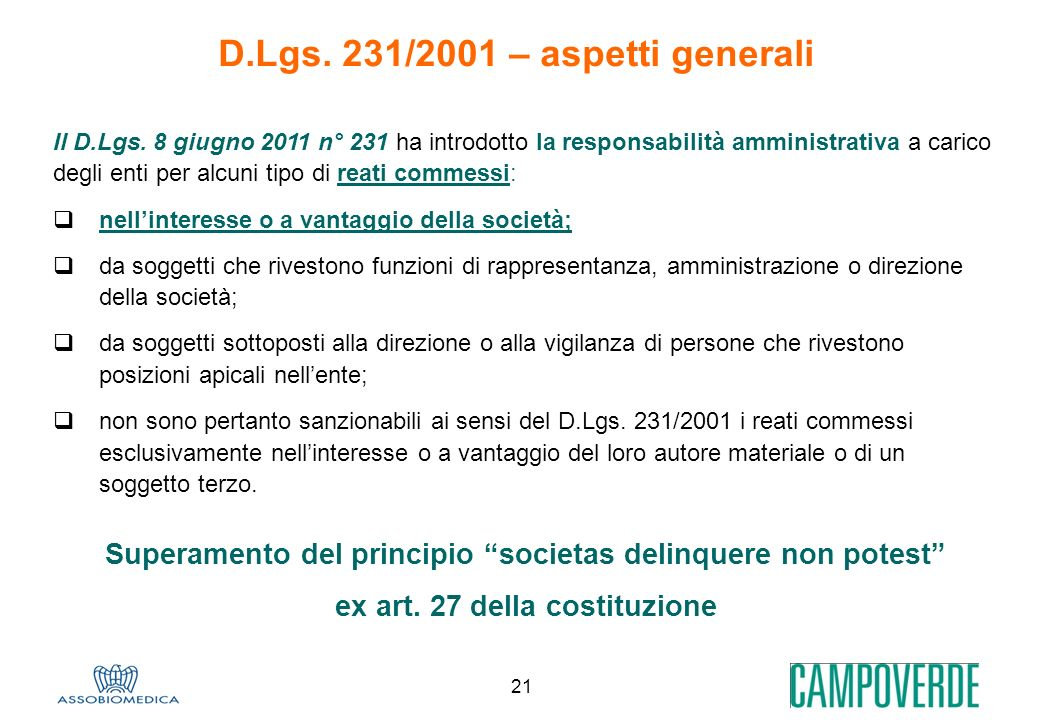 D.Lgs. 231/2001 – aspetti generali