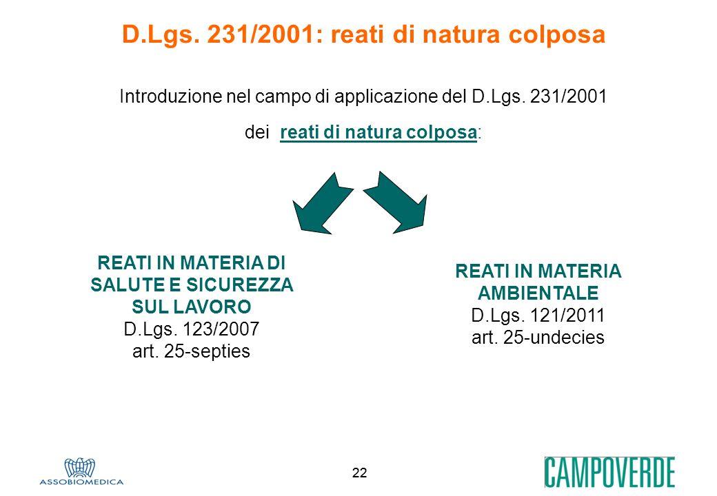 D.Lgs. 231/2001: reati di natura colposa