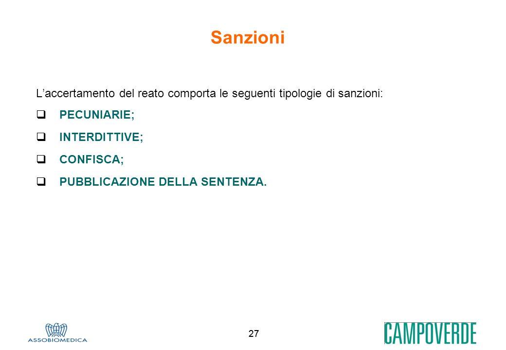 Sanzioni L'accertamento del reato comporta le seguenti tipologie di sanzioni: PECUNIARIE; INTERDITTIVE;