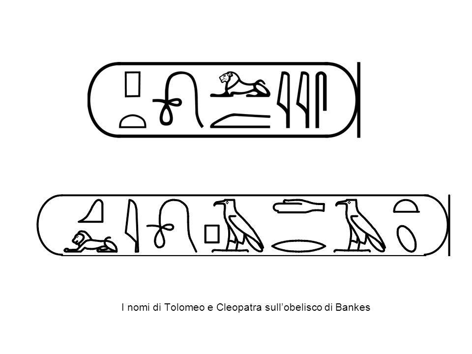 I nomi di Tolomeo e Cleopatra sull'obelisco di Bankes