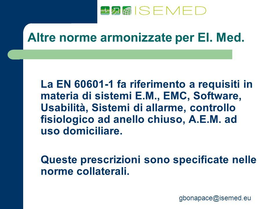 Altre norme armonizzate per El. Med.