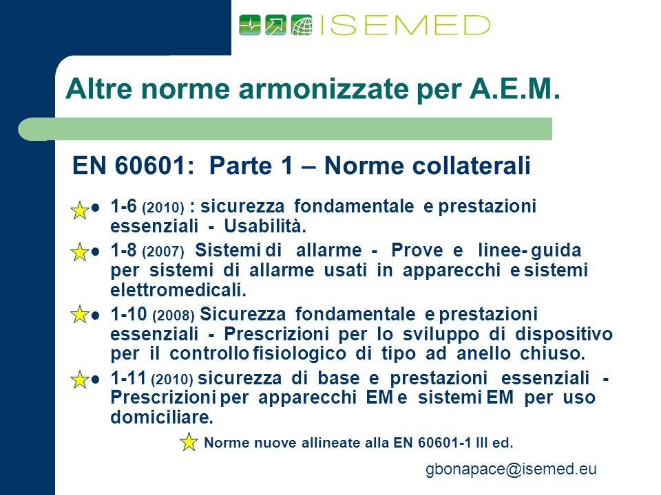 Altre norme armonizzate per A.E.M.