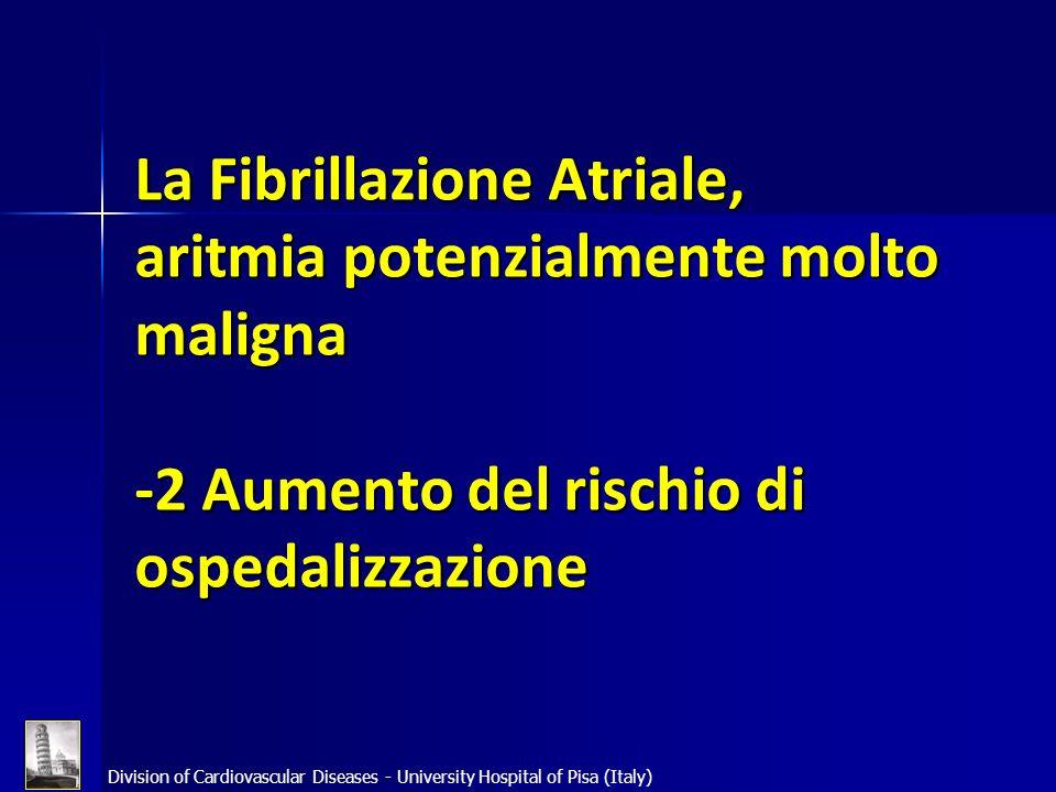 La Fibrillazione Atriale, aritmia potenzialmente molto maligna -2 Aumento del rischio di ospedalizzazione