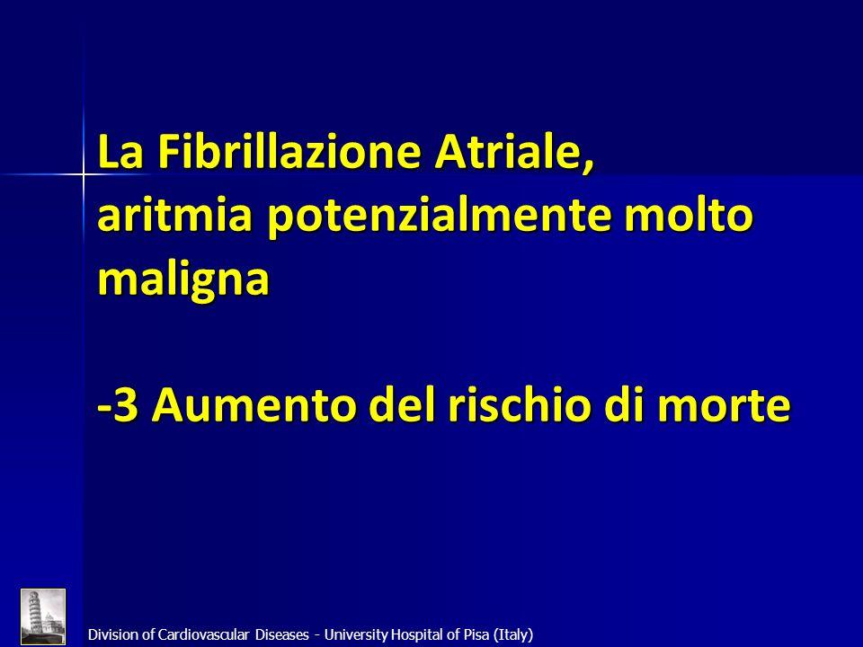 La Fibrillazione Atriale, aritmia potenzialmente molto maligna -3 Aumento del rischio di morte