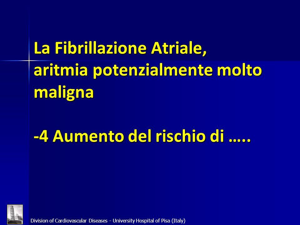 La Fibrillazione Atriale, aritmia potenzialmente molto maligna -4 Aumento del rischio di …..